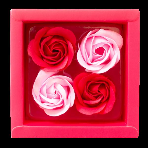 Rosenblüten in Geschenkverpackung mit Schleife