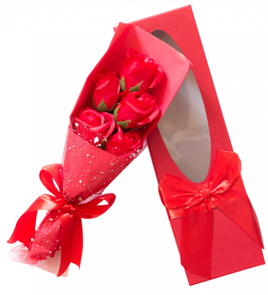 Rosenbouquet in Geschenkverpackung mit Schleife